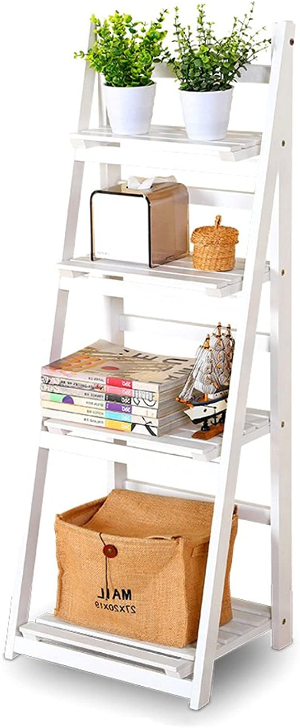 Solid Wood Flower Stand Modern Simple 3 Floors Shelf Balcony Fold Indoor and Outdoor More Meat Ladder Shelf Floor Shelf -by TIANTA (color   White, Size   4layer)