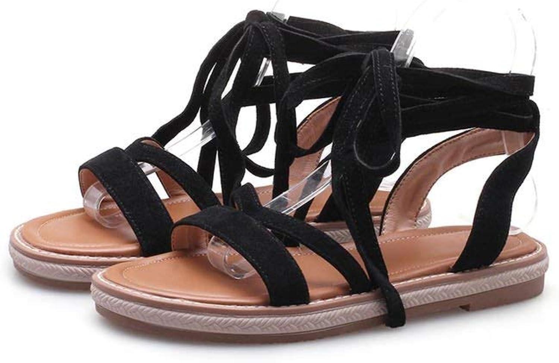 Tcvncfshfs Women Flat Sandals Flock Sexy Cross Tied Summer shoes