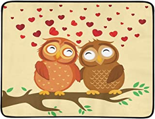 A Pair of Cute Owlet Sitting On A Branch Pattern Portable and Foldable Blanket Mat 60x78 Inch Handy Mat for Camping Picnic...
