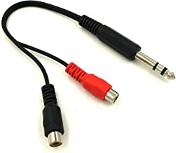 Poyiccot 6.35mm 1/4 inch TRS Stereo Jack Male to 2 RCA Female Plug Y Splitter Adapter Cable 20cm/8inch (635M-2RCAFM)