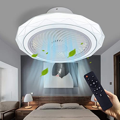 2021 LCiWZ Modern Ceiling Fan with Lights 20In,Enclosed popular Low Profile Ceiling Fans,Ceiling Fan Light Remote Control LED Dimming, Flush Mount 3-Color 3 Files Timing 1/2 online Hour, Delier Suitable Bedroom,Children's room. outlet sale