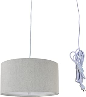 2 Light Plug-in Pendant Light by Home Concept - Hanging Swag Lamp Shallow Drum Textured Oatmeal with Diffuser - Perfect for Apartments, dorms, no Wiring Needed (Textured Oatmeal, White Two-Light)