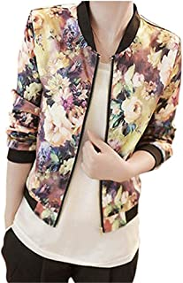 HOT Sale,AIMTOPPY Women Fashion Stand Collar Long Sleeve Zipper Floral Printed Bomber Jacket (L, Yellow)