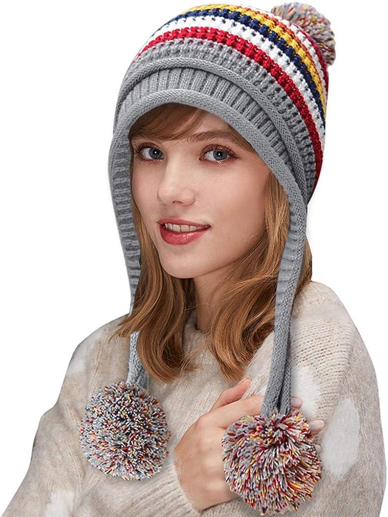 DOCILA Winter Beanie Hat for Women Warm Fleece Lined Pom Knit Hat Cute Outdoor Skull Cap