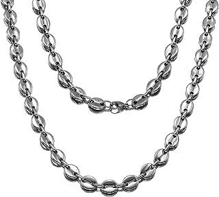 قلادة كوفي بين من المجوهرات كينجدوم 1 للرجال والنساء عالية اللمعان من الفولاذ المقاوم للصدأ سلسلة متصلة كوبية ثقيلة (7/11 ...