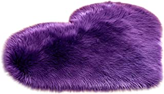Vacally Wool Imitation Sheepskin Rugs Faux Fur Non-Slip Bedroom Carpet Shaggy Mats Area Rug Heart-Shaped Solid Color Kitchen Doorway Entrance Absorbent Carpet 16x20inches