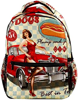 Vintage Hot Dog Poster With Pin Up Girl And Retro Car Backpack Casual Sports Daypack Travel School Bag with Multiple Pockets for Men Women College