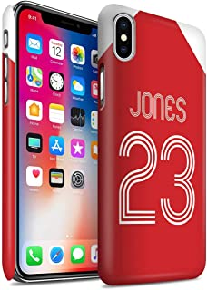 Personalized Custom Soccer Club Jersey Shirt Kit Matte Case for Apple iPhone X/10 / Red White Design/Initial/Name/Text DIY Snap-On Cover
