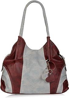 Aisna Women's Handbag(ASN-181)(Light Blue,Maroon)