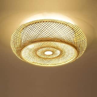 Shfmx Nordic Minimalist Bedroom Ceiling Ligh, Vintage Style Handmade Rattan lampshade Living Room Office Ceiling lamp Lantern Round Bamboo lamp