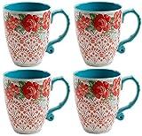 El Pioneer Mujer Vintage Floral 26-ounce Jumbo juego de taza de café, juego de 4