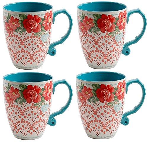 The Pioneer Woman Vintage Floral 26-Ounce Jumbo Latte Mug Set, Set of 4
