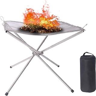 焚火台 ファイアスタンド 3分割型 焚き火スタンド 焚火台メッシュ ソロキャンプ 軽量 組み立て簡単 コンパクト 収納袋付き キャンプ BBQ レジャー