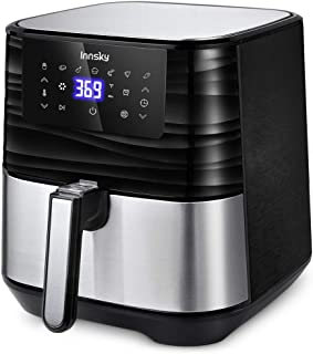Innsky Air Fryer XL, 5.8QT 1700W Electric Stainless Steel Air Fryers Oven Oilless Cooker, 7 Cooking Presets, Preheat & LED Digital Touchscreen, Nonstick Square Basket, 2 Years Warranty, ETL Listed (32 Recipe book )