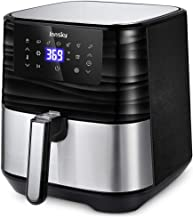 Innsky Air Fryer XL, 5.8QT 1700W Electric Stainless Steel Air Fryers Oven Oilless Cooker, 7 Cooking Presets, Preheat & LED Digital Touchscreen, Nonstick Square Basket, ETL Listed (32 Recipe book)