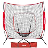 ZENY 7'×7' Baseball Softball Practice Net Hitting Batting Catching Pitching Training Net w/Carry Bag & Metal Bow Frame, Backstop Screen Equipment Training Aids