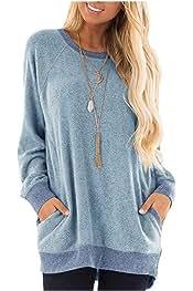 Sayah Womens Warm Pure Tops Pullover Velvet Crew Neck Thick Long-Sleeve Sweatshirts