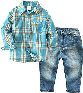 Little Boys' 2 Piece Long Sleeve Shirt and Denim Pants Jeans Set