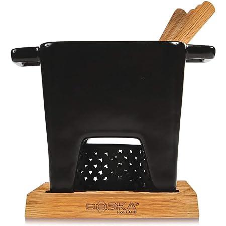 Boska 853529 juego para fondue 0.4 L Negro 4 personas(s) - Juegos para fondue (0.4 L, Negro, 4 personas(s), Plaza, Cerámico, Acero inoxidable)