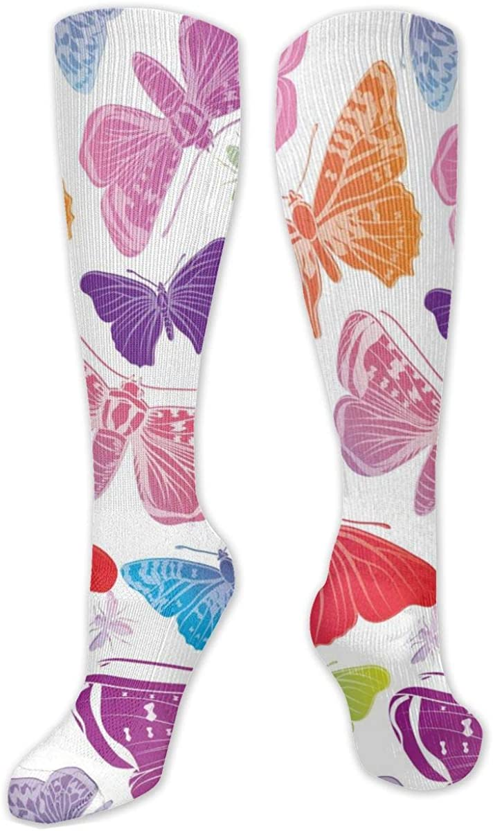 Colored Butterflies Knee High Socks Leg Warmer Dresses Long Boot Stockings For Womens Cosplay Daily Wear