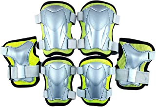 LIOOBO Kids Knee Pads Set 6 in 1 Kit Protective Gear Knee Elbow Pads Wrist Guards for Skateboard Biking Riding Cycling Rollerblading Green Size M