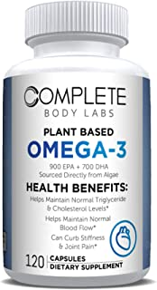 Plant Based Omega-3 2000mg, 900 EPA & 700 DHA Sources Directly from Algae, Encapsulated Powder, Complete Body Labs (120 Ca...