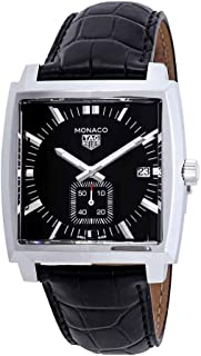 Tag Heuer Monaco Black Dial Leather Strap Men's Watch WAW131AFC6177