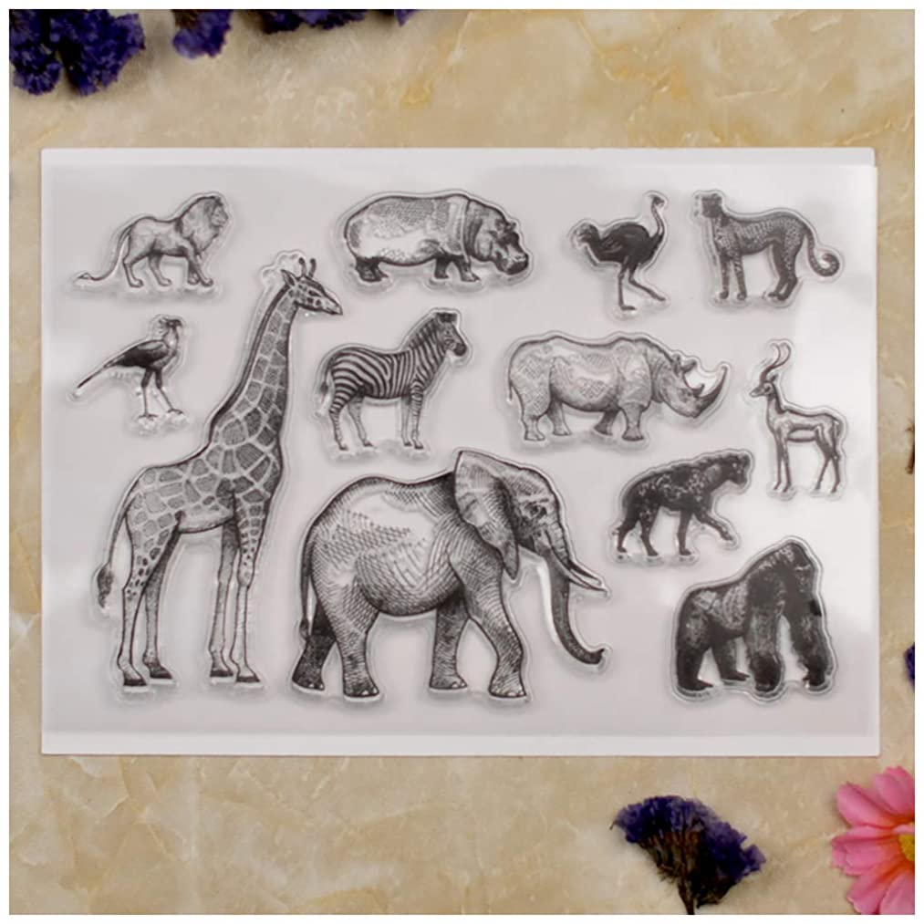 Kwan Crafts Animal World Elephant Giraffe Lion Clear Stamps for Card Making Decoration and DIY Scrapbooking