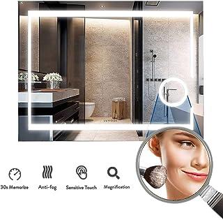 LUVODI Espejo de Baño Pared con Iluminación LED Espejo de Baño Moderno con Interruptor Táctil y 3X Aumento Función Anti-Ni...
