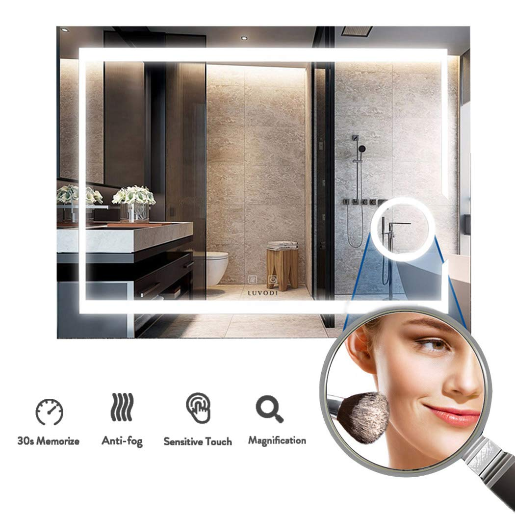 LUVODI 14 x 14 mm Illuminated LED Bathroom Mirror Wall Mounted Vanity  Makeup Mirror with Light Sensor + Anti-fog Demister 14X Magnifier Backlit