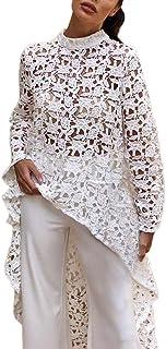 Longra Damenblusen Damen Spitzenbluse Lace Bluse Florale Weiß Bluse OL Hemdbluse mit Stehkragen Damen Elegante Festliche Blusen Hemdbluse Sommerblusen Blusentop Asymmetrisch Oberteile