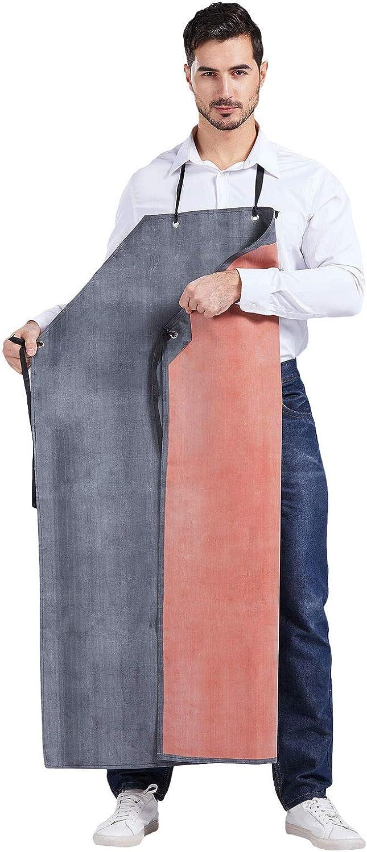 Nanxson Delantal de trabajo resistente al agua de goma gruesa multifunción para hombres CF3024 (negro rojo, 120x85cm)