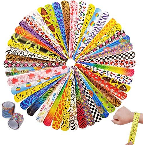 JZK 60 x Pulseras de Juguete bofetada para niños y niñas Juguetes pequeños para cumpleaños Detalle Fiesta Rellenos para Bolsas de Fiesta