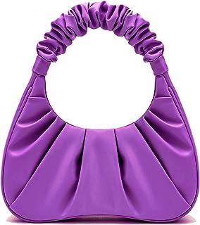 BROWN BOSS PU Leather Ruched Shoulder Handbag for Women - PURPLE
