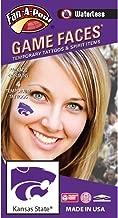 Kansas State University (KSU) Wildcats – Waterless Peel & Stick Temporary Spirit Tattoos – 4-Piece – Purple Willie Cat Head Logo
