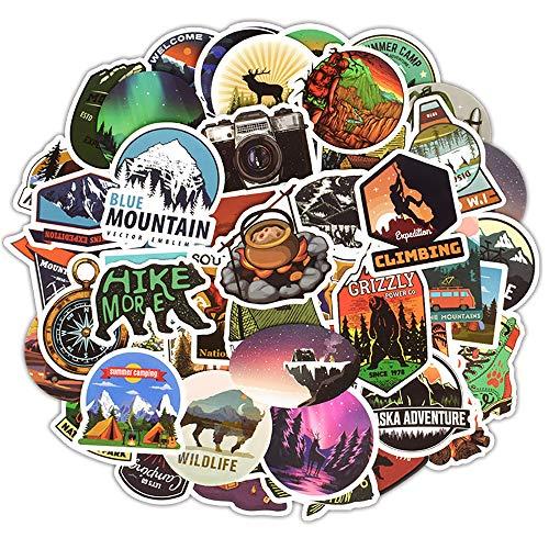 Outdoor Abenteuer Aufkleber, 50 PCS Camping Reise Vinyl Graffiti Sticker Decals Wasserdicht Laptop Aufkleber Teen Kinder Stickerbomb für Telefon Computer Auto Motorrad Fahrrad Gepäck Wasserflaschen