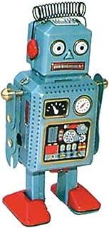 CAPRILO Juguete Decorativo de Hojalata Robot Azul Muelle Cabeza. Juguetes de Colección. Regalos Originales. Decoración Clá...