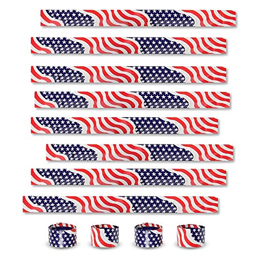 ArtCreativity Patriotic Slap Bracelets for Kids, Set of 12, Stars and Stripes Slap Wrist Bands, July 4th Party Favors for Kids, Red, White, and Blue Accessories for Memorial and Veterans Day