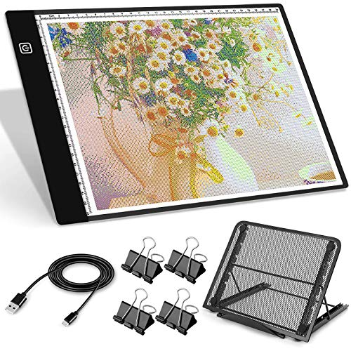 A4 LED Tracing Light Box, MCGOR USB Powered Diamond Painting Light Pad with Metal Stand & 4 Clips, Dimmable LED Light Board for Tracing, Drawing, Sketching, Animation, Stenciling