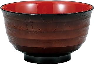 竹中 日本製 お椀 4.5 大 汁椀 平筋木目 溜 φ13.5×7.6 T-96224