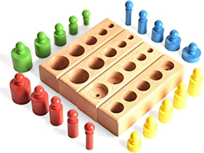 BOHS (Shrunk Down Version) Miniature Montessori Knobbed Cylinder - Colorful Wooden Early Home School Toy - 4pcs/Set,5.8 Inches | Ages 2.5 Years and Up
