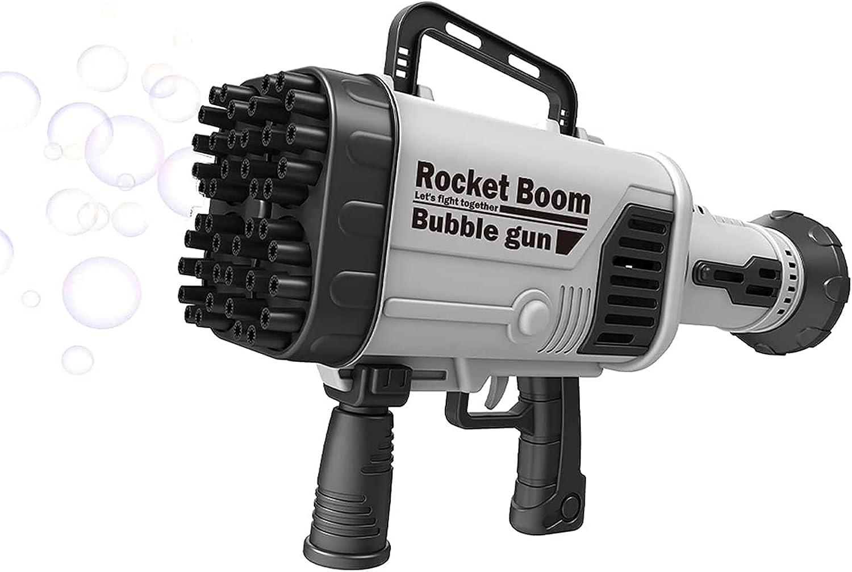 44 hoyos Rocket Launcher forma Bubble Maker,recargable Gatling Rocket Boom pistola de burbujas para niños y niños pequeños verano fiestas al aire libre juguete