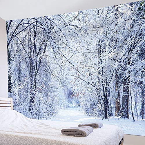 HVEST Winter Scenery Tapestry Snow Forest Tapestry Wall Hanging Snowy Trees Jungle Wall Tapestry Snow Covered Road Tapestry for Bedroom Living Room Dorm Wall Decor, 92.5Wx70.9H inches