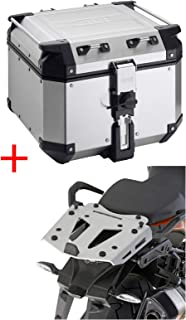 Givi SILVER Outback 42L Top Case & Monokey Rear Rack Mount Kit for KTM 1050 1090 1190 1290 Adventurer
