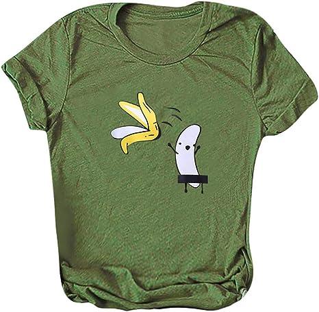 KINTRADE Mujeres Niñas Verano Roll Up Camiseta de Manga Corta ...