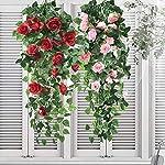 simulation fake flower rose vine wall hanging artifical flowers orchid hanging basket flower living room balcony home decoration flower(red)