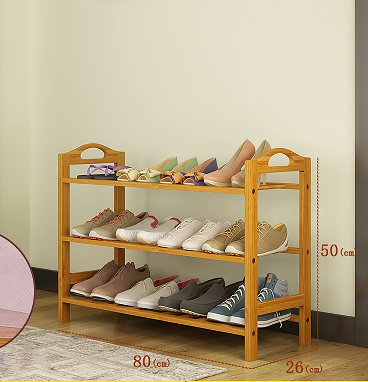 shoes Bench Organizing Rack Natural Bamboo shoes Rack Three-Layer Unit Shelf Simple Storage shoes Rack (Size   80  26  50cm)