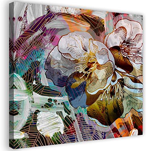 Feeby Photo sur Toile XXL Fleurs Nature Art Image Déco Abstrait Multicolore 90x90 cm