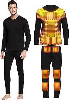 Yokbeer Winter Skiing Heating Underwear Set USB Battery Powered Heated Thermal Tops Pants Smart Control Temperature Warm Suit