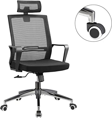 Office Chair High Back Executive Computer Desk Chair, Adjustable Tilt Angle Headrest Lumbar Support Ergonomic Swivel Chair (M